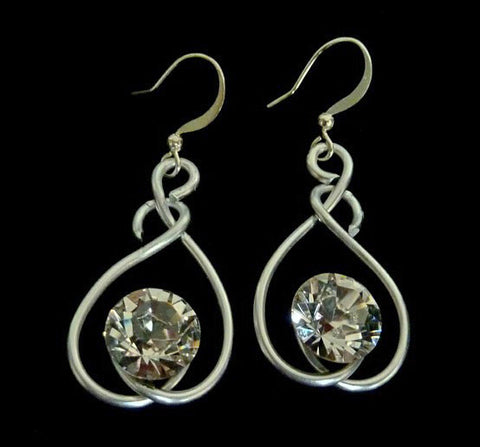 Silver Swirl Drop Earrings with Authentic Swarovski Crystals by Jeff Lieb Total Design Jewelry