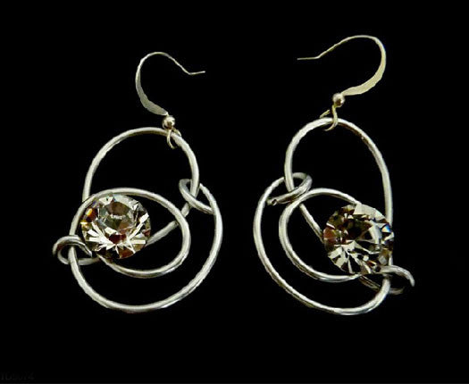 Silver Twisted Dangle Earrings with Authentic Certified Swarovski Crystals by Jeff Lieb Total Design Jewelry