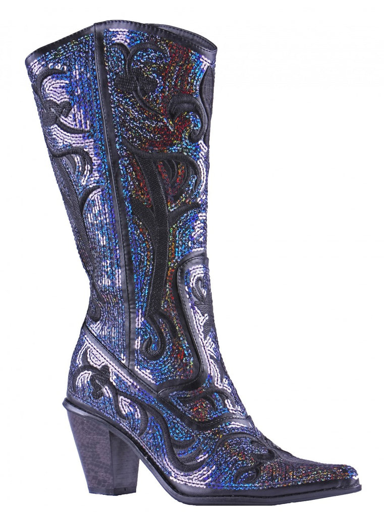 Helen's Heart Blue/Black Sequins Cowboy Boots - Inside View