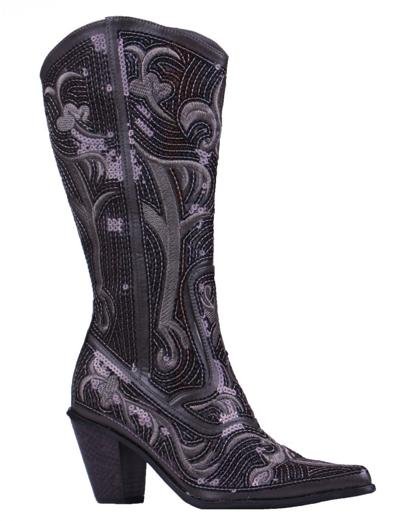 Helen's Heart Grey Blingy Sequins Cowboy Boots