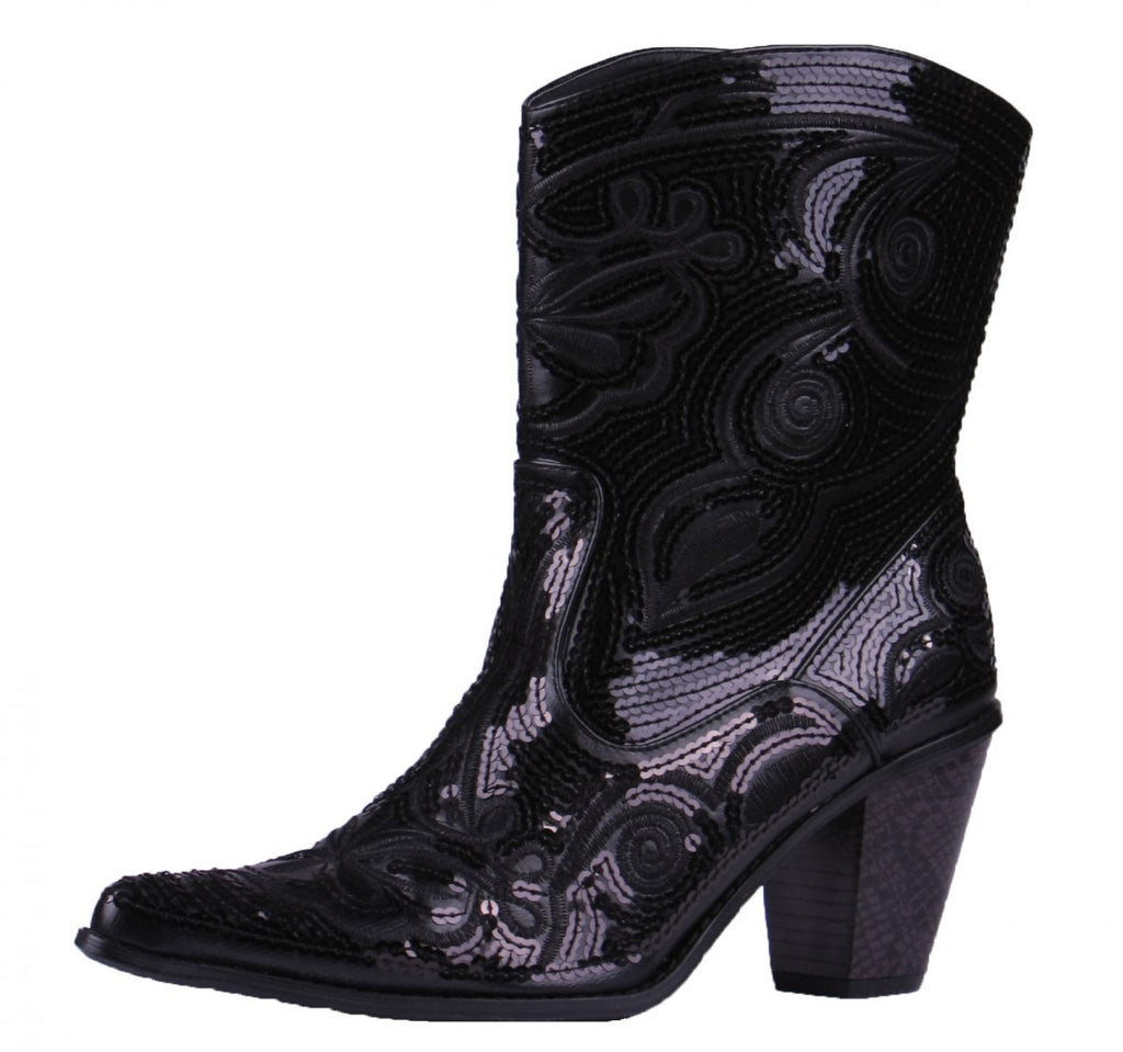 Helen's Heart Short Black Sequins Cowboy Boots