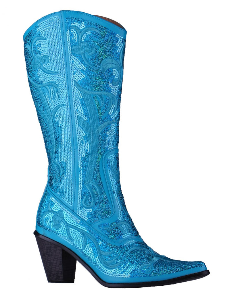 Helen's Heart Turquoise Sequins Cowboy Boots - Inside View