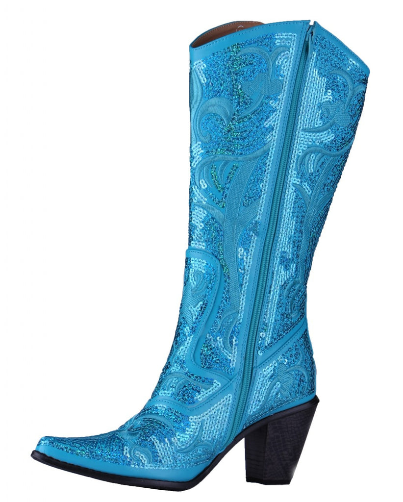 Helen's Heart Turquoise Blingy Sequins Cowboy Boots
