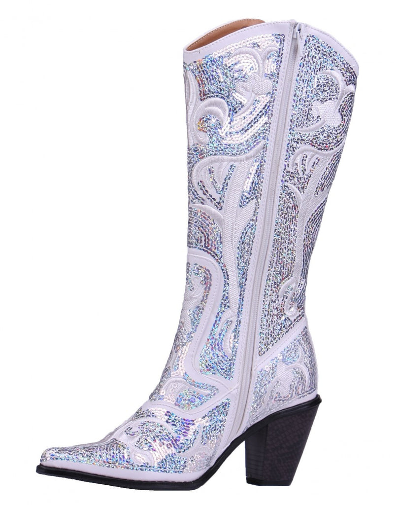 Helen's Heart White Blingy Sequins Cowboy Boots