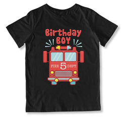 Birthday Boy Fire Truck 5 T-Shirt - BTH-137
