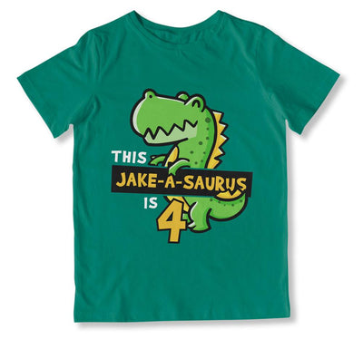 Dad Of / Mom Of / The (Custom)-A-Saurus is 4