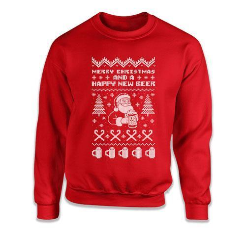 CREWNECK SWEATER - Merry Christmas And A Happy New Beer - DN-260