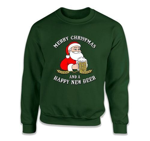CREWNECK SWEATER - Merry Christmas And A Happy New Beer - DN-315
