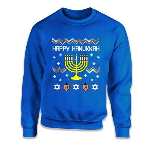 CREWNECK SWEATER - Ugly Happy Hanukkah Menorah - FAT-587