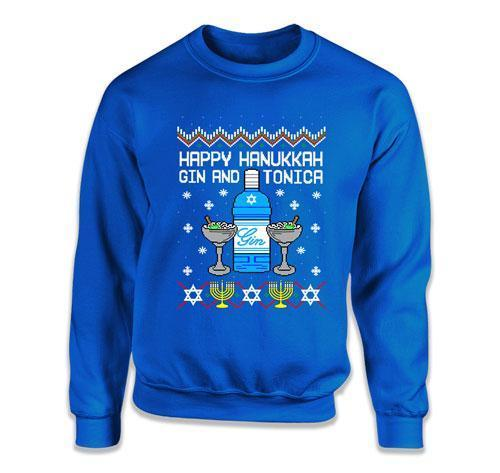CREWNECK SWEATER - Happy Hanukkah Gin And Tonica - FAT-591