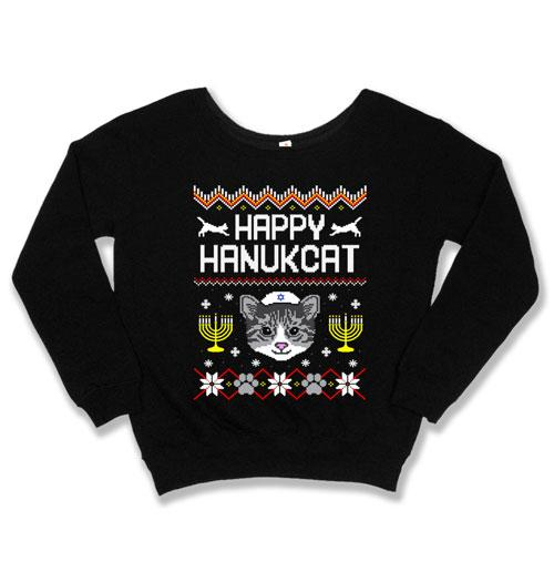 Happy Hanukcat Ugly Hanukkah Sweater - FAT-592