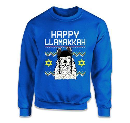 CREWNECK SWEATER - Happy Llamakkah Ugly Hanukkah Sweater - FAT-610