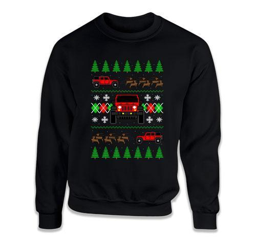 CREWNECK SWEATER - 4 Door Jeep Ugly Christmas Sweater - FAT-611
