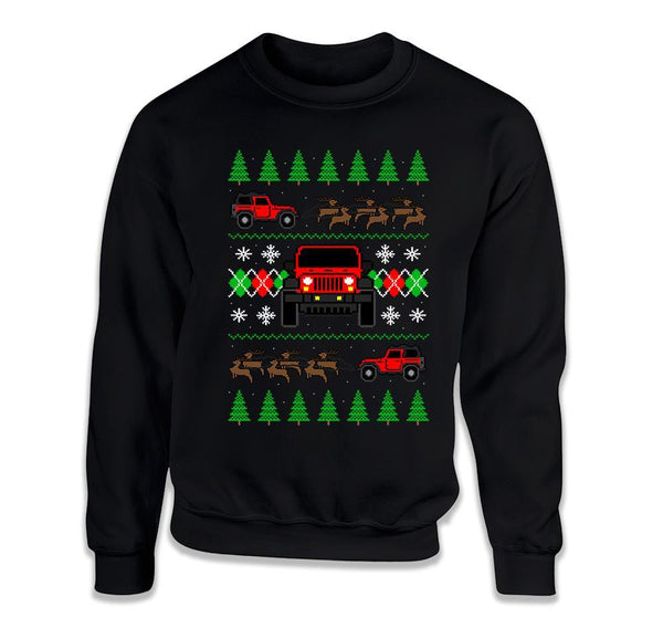 CREWNECK SWEATER - 2 Door Jeep Ugly Christmas Sweater - FAT-612