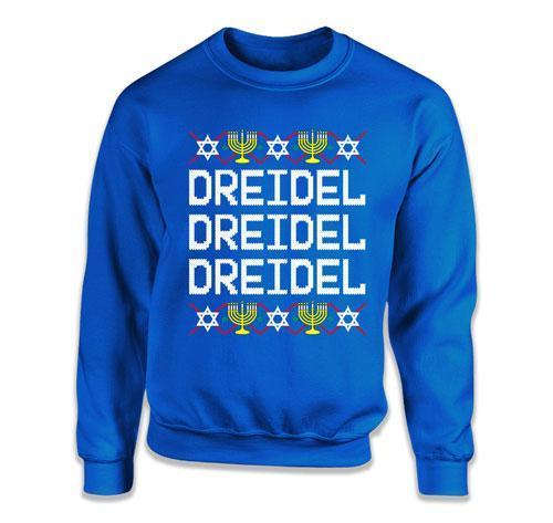 CREWNECK SWEATER - Dreidel Dreidel Dreidel Ugly Hanukkah Sweater - FAT-613