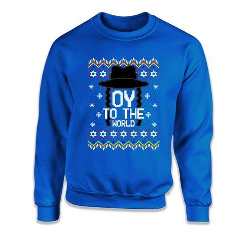 CREWNECK SWEATER - Oy To The World Ugly Hanukkah Sweater - FAT-617