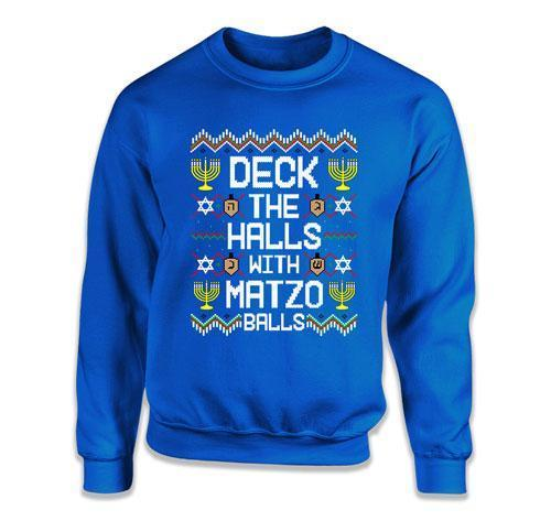 CREWNECK SWEATER - Deck The Halls With Matzo Balls - FAT-618