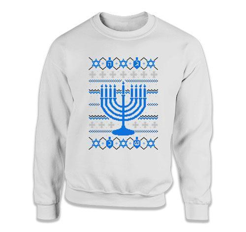 CREWNECK SWEATER - Ugly Hanukkah Sweater - FAT-639