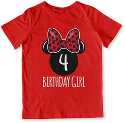 4th Birthday Girl Mouse T-Shirt - TEP-1615