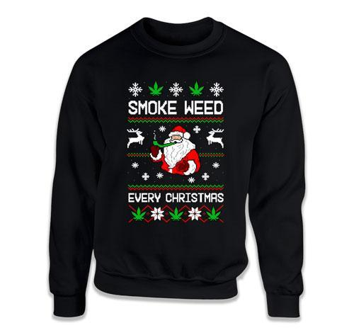 CREWNECK SWEATER - Smoke Weed Every Christmas - TEP-1696