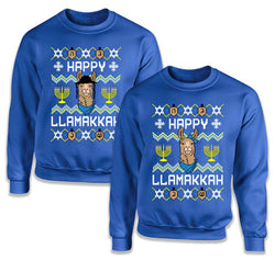 Happy Llamakkah Matching Sweatshirts