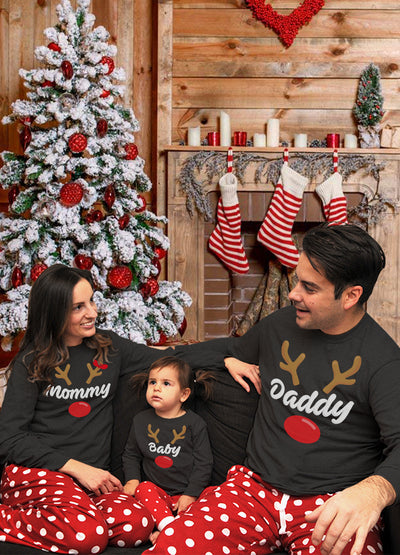 Reindeer-style Matching Family Pajamas for Mama, Papa, and Baby