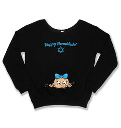 SLOUCHY SWEATER - Happy Hanukkah Pregnancy Announcement - TEP-424