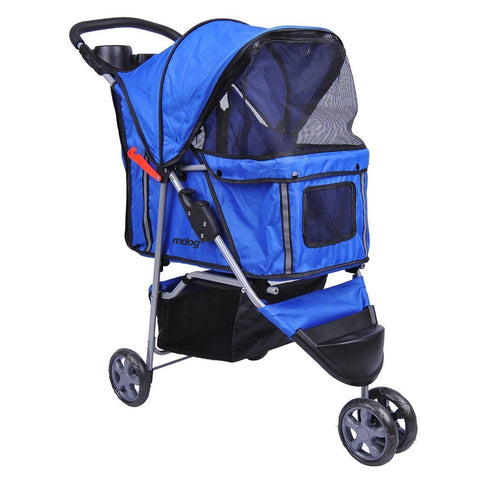 MDOG2 3-Wheel Front & Rear Entry MK0015A Pet Stroller (Blue)