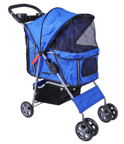 MDOG2 4-Wheel Front & Rear Entry MK0034 Pet Stroller (Blue) - Peazz.com - 1