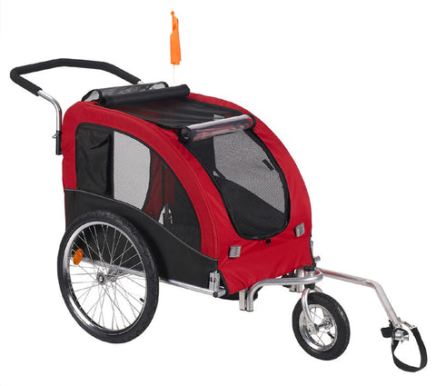 Comfy Dog Bike Trailer/Jogging Stroller with Stroller Kit Red - Large (MKD03A) - Pet Stroller World