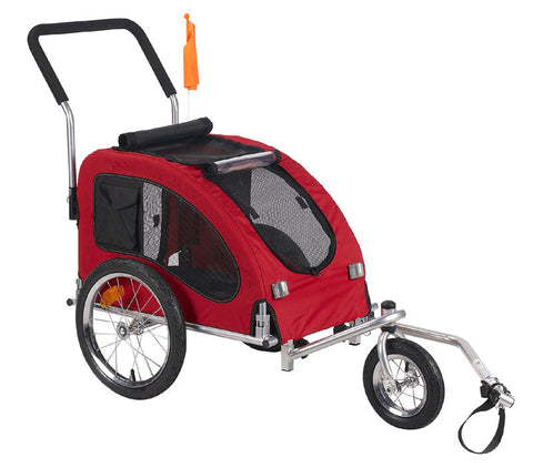 Comfy Dog Bike Trailer/Jogging Stroller with Stroller Kit Red - Medium (MKD03B) - Pet Stroller World