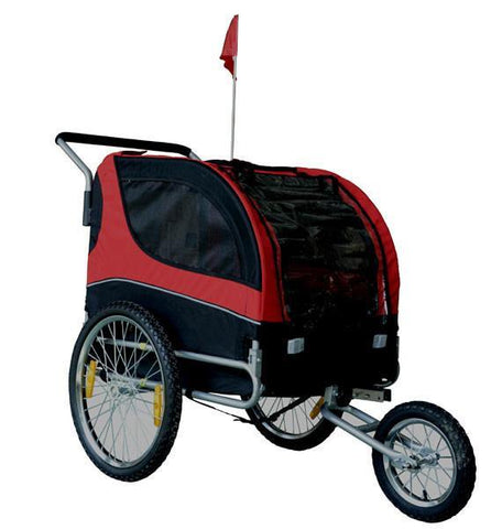 MDOG2 Comfy MK0291 Pet Bike Trailer/Jogging Stroller - Red/Black - Peazz.com