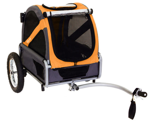 DoggyRide Mini Dog Bike Trailer - Dutch Orange/Grey (DRMNTR02-OR) - Pet Stroller World