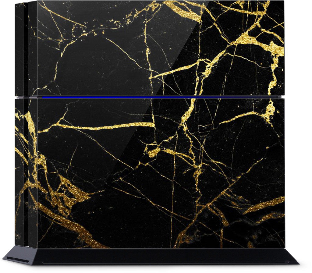 Black and Gold Marble PlayStation Skin