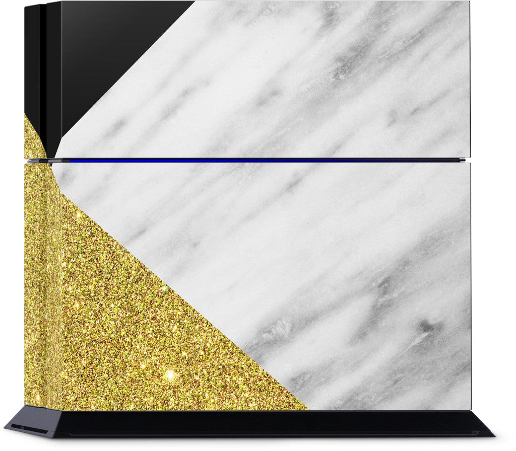 Gold and Real Italian Marble Collage PlayStation Skin