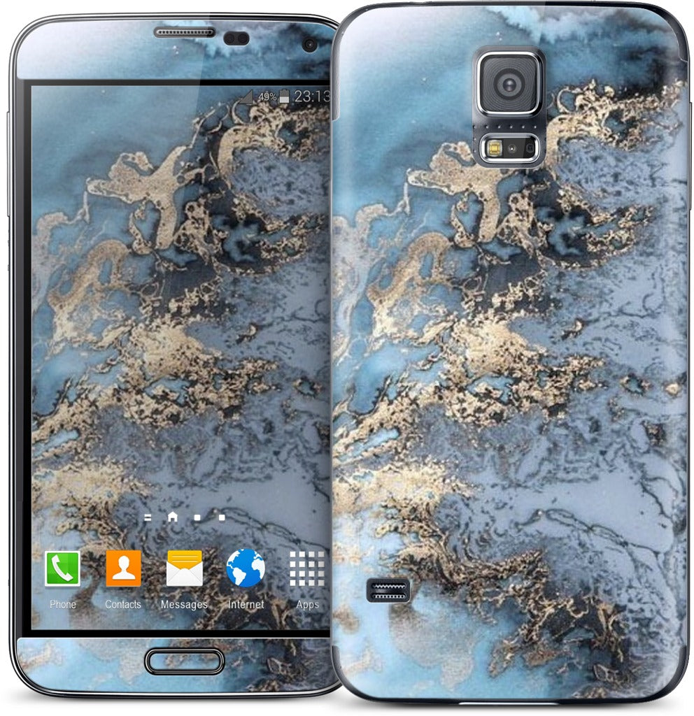 Blue and Gold Marble Samsung Skin