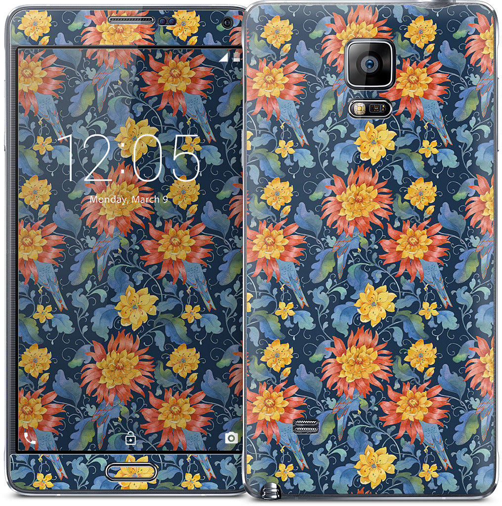 Blue Bird Pattern Samsung Skin