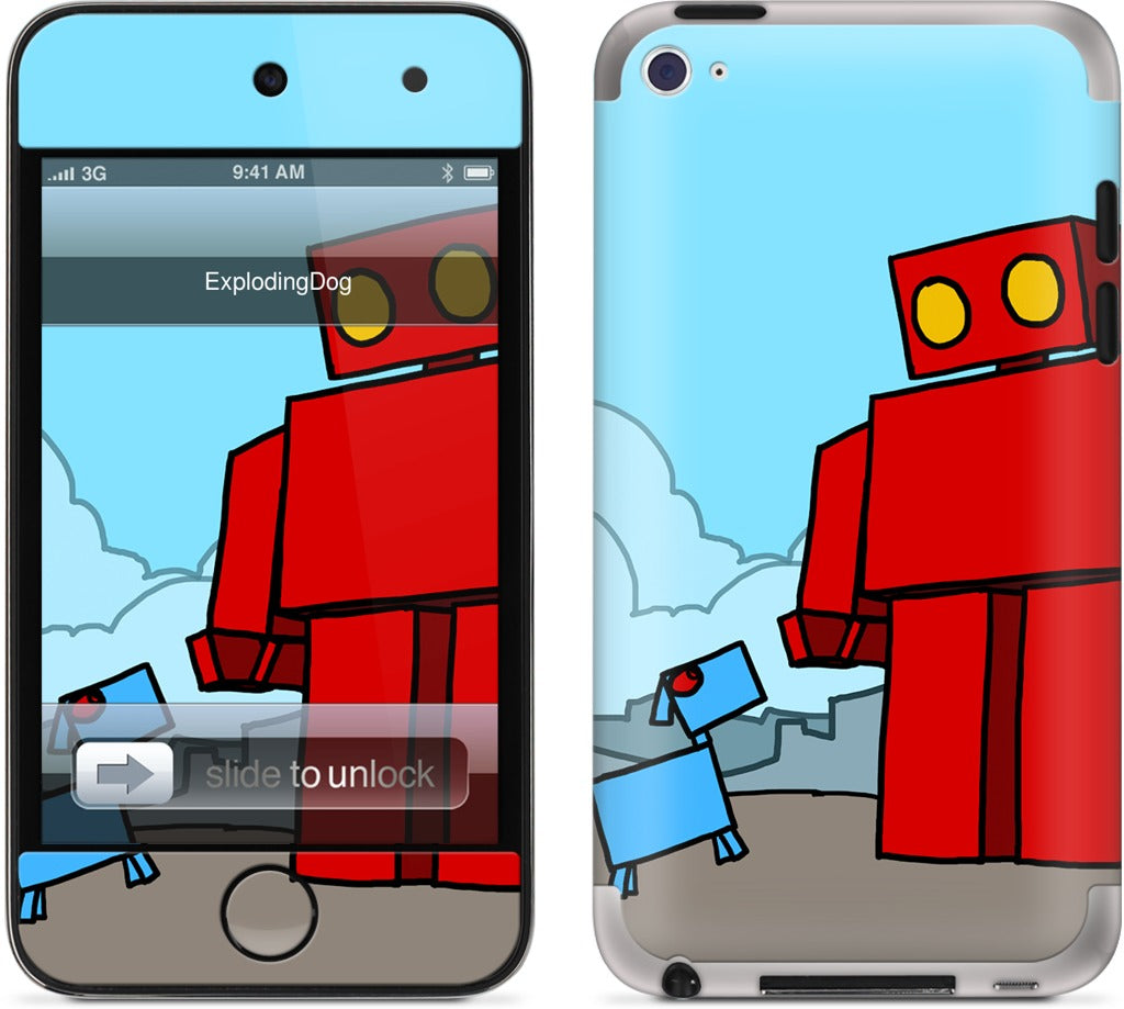 Red Robot Leaving The City iPod Skin