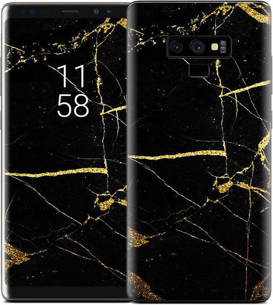 Black and Gold Marble Samsung Skin
