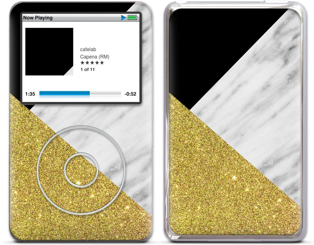 Gold and Real Italian Marble Collage iPod Skin