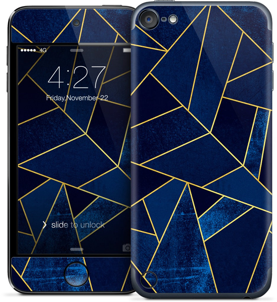 Blue Stone / Gold Lines iPod Skin