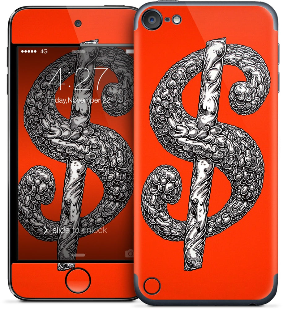 Dollar Sign Red iPod Skin