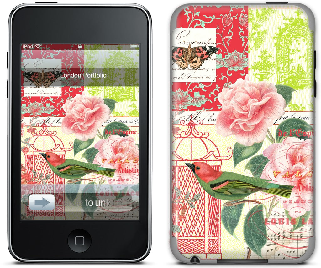 Gillian Fullard : Floral Bird Engraving 1857 iPod Skin