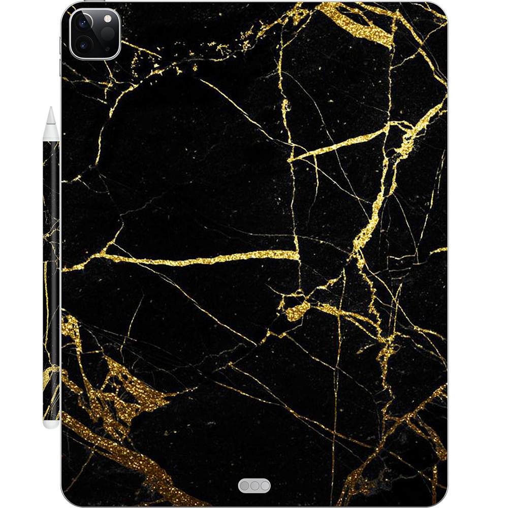 Black and Gold Marble iPad Skin