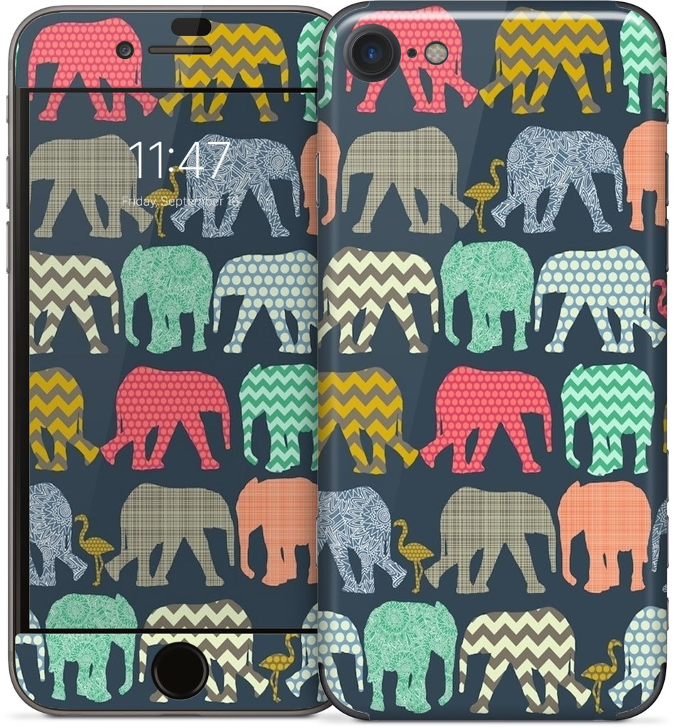 baby elephants and flamingos iPhone Skin