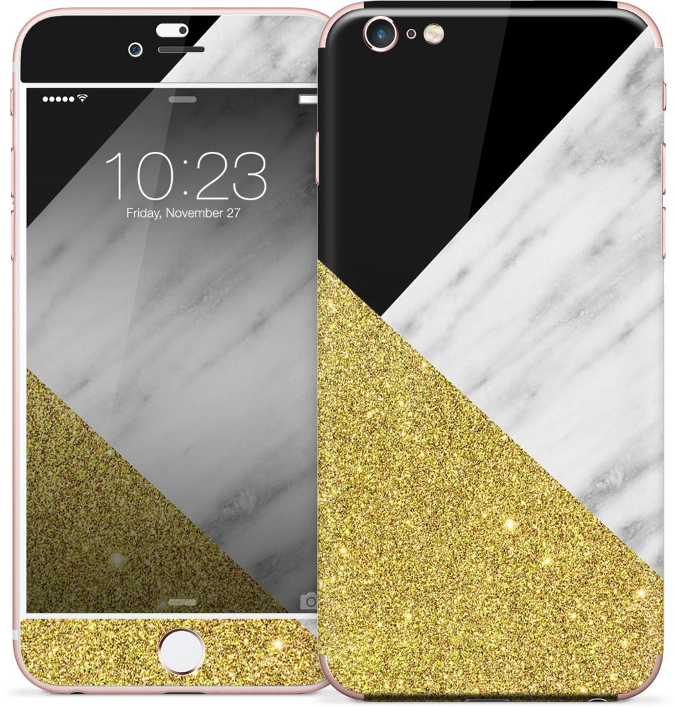 Gold and Real Italian Marble Collage iPhone Skin