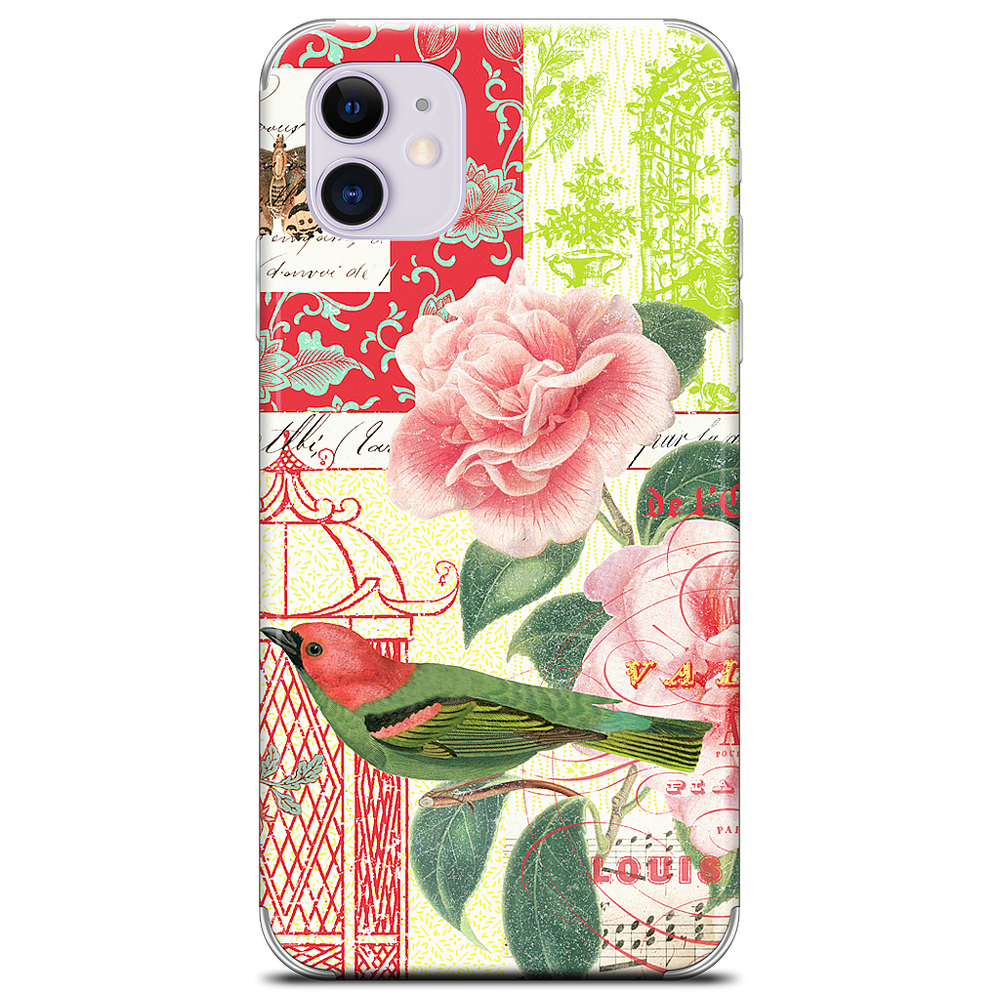 Gillian Fullard : Floral Bird Engraving 1857 iPhone Skin