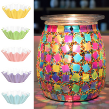 Flippin' Happy Mosaic Glass Electric Wax Melt Warmer  for Living Room, Bedroom, Office, Home Decor Gifts (Jelly Bean)