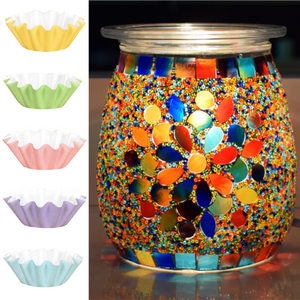 Flippin' Happy Mosaic Glass Electric Wax Melt Warmer - Scented Wax Burner and Oil Fragrance Warmer (Magnolia)