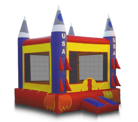 Red and Blue Rocket Bounce House - FREE SHIPPING!!